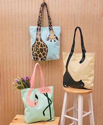 Giraffe Handbag Purse - Sleepyville Critters Canvas Totes | Purse | Handbag | Flamingo | Giraffe | Cat