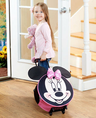 (DISNEY KIDS BOYS MICKEY or GIRLS MINNIE MOUSE MOLDED ROLLING LUGGAGE SUITCASE)