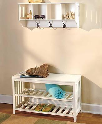 2 PC WHITE Entryway Wall Shelf & Hall Bench Coat Rack Storag