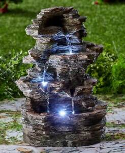 Natural Stone Fountains For Garden Stone fountain ebay stacked stone look led lighted water fountain zen garden yard decor workwithnaturefo