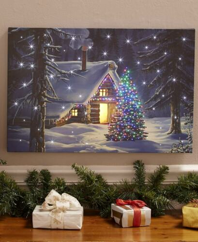 LED Lighted Fiber-Optic Log Cabin Christmas Tree Scene Home Canvas Wall Art