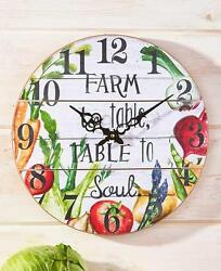 COUNTRY INSPIRED FARM TO TABLE SLATBOARD KITCHEN WALL CLOCK READY TO HANG