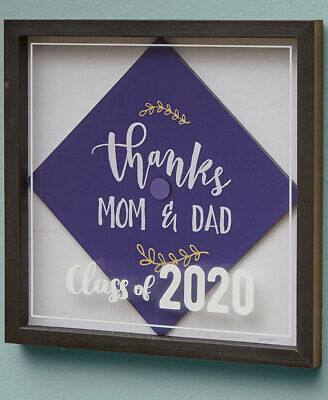 Graduation Cap Shadow Box Hanging Picture Frame Square 14.75