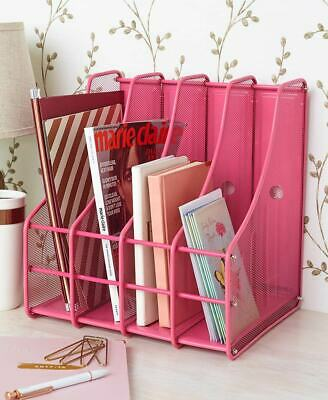 Metal File Magazine Storage Holder Desk Organizer 4 Compartments - Fuchsia Pink