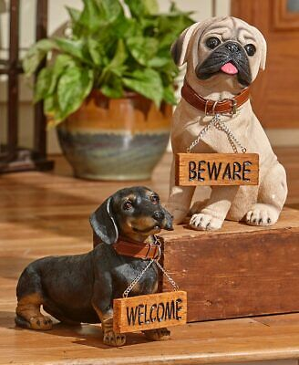WELCOME and BEWARE DOG STATUE Beagle Chihuahua Labrador Yorkie Pug Dachshund Pet ()