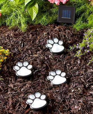 (Set of 4 Solar Powered Lighted Puppy Dog Paw Print Garden Statue Decor)