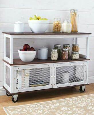 Industrial Style Rolling Kitchen Dining Buffet Cart Island Table Household White