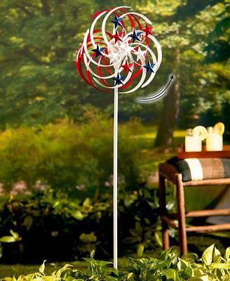 Solar Lighted Gazing Ball Patriotic Stars Double-Spiral Garden Wind (Patriotic Garden Spinner)