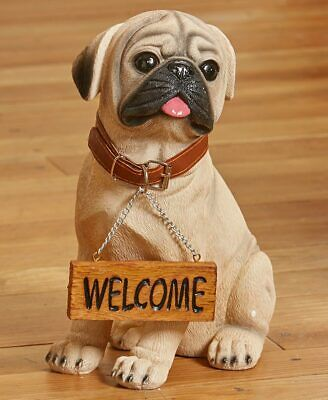 """Welcome or Beware"" Pug Dog Indoor/Outdoor Garden Statue for sale  Buffalo"