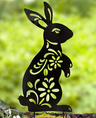 BUNNY Metal Animal Silhouette Stake Floral Cutouts Garden Lawn Yard Decor 21''H](Bunny Silhouette)