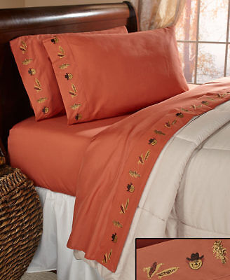 Twin Full Harvest Embroidered Sheet Sets Scarecrow Leaves Fall Bedding Decor ()