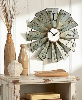 Metal Windmill Wall Clock Rustic Farm House Country Art Living Room Home Decor