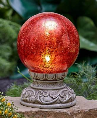 Solar Powered Lighted Red Crackled Glass Garden Gazing Ball On Pedestal ()