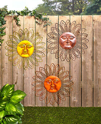Metal Wall Art Sun Face Deck Porch Patio Fence Outdoor Home Decor in 3 - Fence Decorations