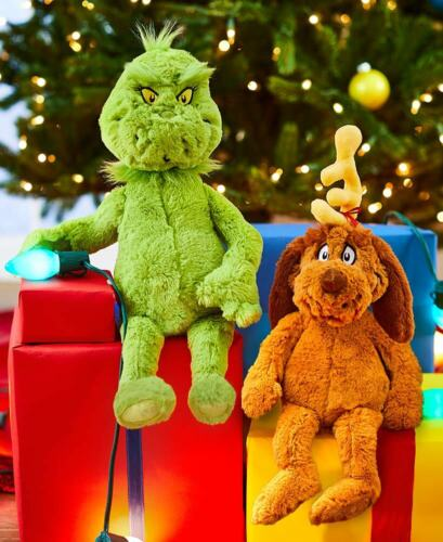 """BOTH The Grinch & Max the Dog 16"""" Plush Toy Christmas Decor Dr. Seuss Gift"""