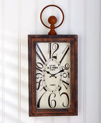 Vintage Wall Clock Bronze Brown Large Antique Distressed Battery Operated