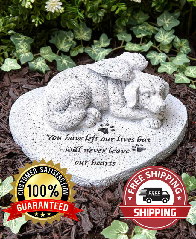 Paw Prints Pet Dog Memorial Cemetery Grave Marker Tomb Stone Statue Garden New