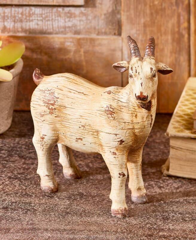 """Rustic FARMHOUSE Themed Decor """"GOAT"""" Cold Cast CERAMIC Animal FIGURINE Sculpture"""