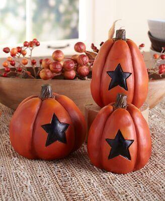 Set of 3 Country Pumpkin Trio Fall Autumn Decor Farmhouse Orange Stars NIB