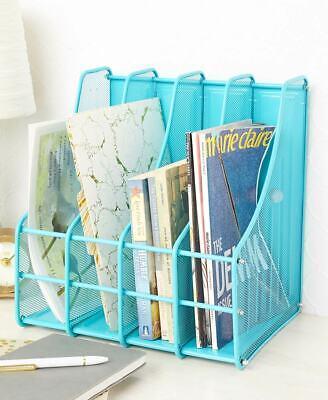 4 Compartment Metal File Magazine Storage Holder Desk Organizer - Turquoise Blue