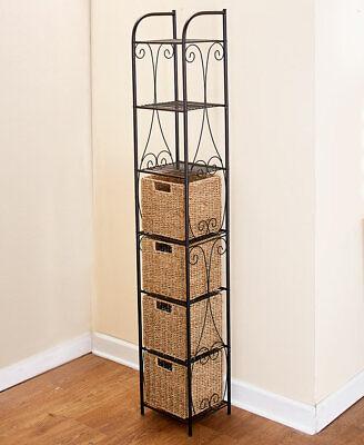 Seagrass Tower Shelving Rack Unit w 4 Baskets Bathroom Pantry Storage Furniture Furniture Storage Baskets