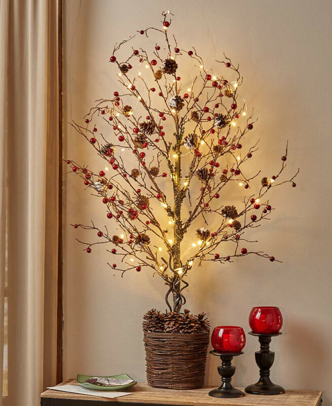 """Rustic Country Berries 39"""" Lighted Half Tree - Primitive Home Decoration"""
