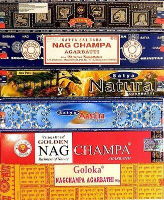 (8,21€/100g) Räucherstäbchen 12er Set-Satya Nag Champa Aastha Goloka Natural Räu