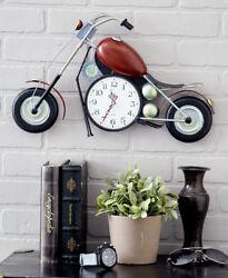 Motorcycle Wall Clock Large Sculpture Hanging Art Red Black Metal Great Gift