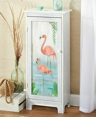 distressed tropical birds pink flamingo artwork storage