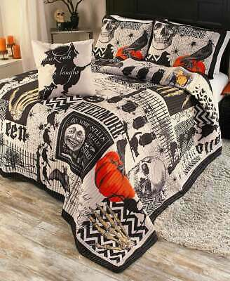 4 PC Gothic Nevermore Halloween Bedding Quilt Set KING