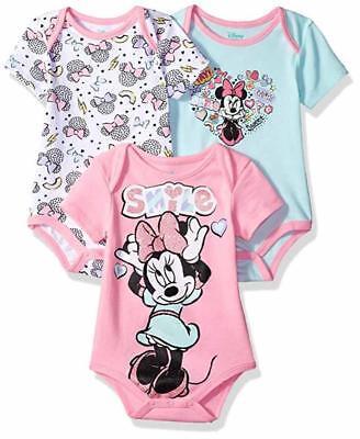 Disney Baby Girls' Minnie Mouse Three-Pack Bodysuits Size 12M 18M 24M Baby Three Pack Bodysuits