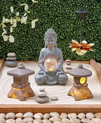 Serenity Solar Light Garden Round Square Pagoda Lantern Lotus Buddha Statue -