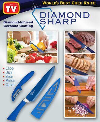 Diamond Sharp Knife & Peeler, Diamonds Ceramic Coated Chef Knife - As Seen On TV