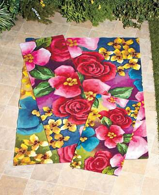 Bright Floral Garden Print on Outdoor Rugs Add Beauty to Patio Porch Deck ()