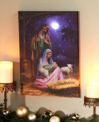 LED Lighted Fiber-Optic Christmas Nativity Scene Home Canvas Wall Art