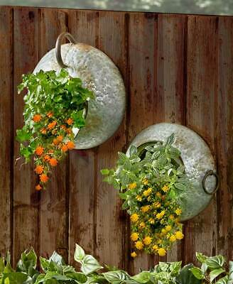 RUSTIC METAL HANGING WALL PLANTER Patio Deck Porch Balcony Art Pitcher Milk Can