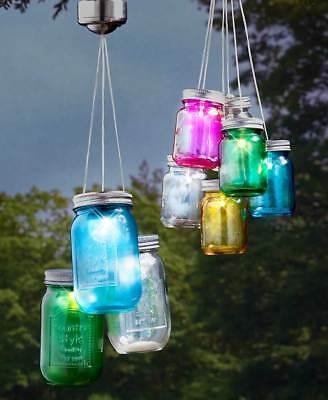 Set of 3 Solar Mason Jar Light Up Hanging Lights Porch Patio Garden Home Decor (Light Up Mason Jars)