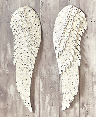 2 Metal Angel Wings For Hanging Wall Mount Home Decor White Detailed Sculpture ()