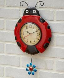 COLORFUL METAL LADYBUG PENDULUM WALL CLOCK BATTERY OPERATED READY TO HANG