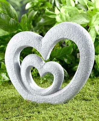 Double Heart Garden Sculpture Memorial Love Outdoor Home Decor Patio Lawn Yard