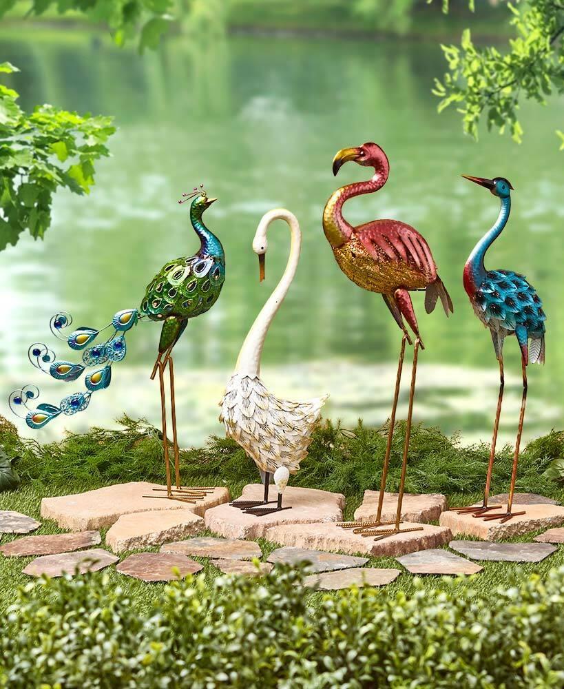 garden decor - Colorful Metallic Bird Swan Heron Peacock Flamingo Garden Statue Outdoor Decor