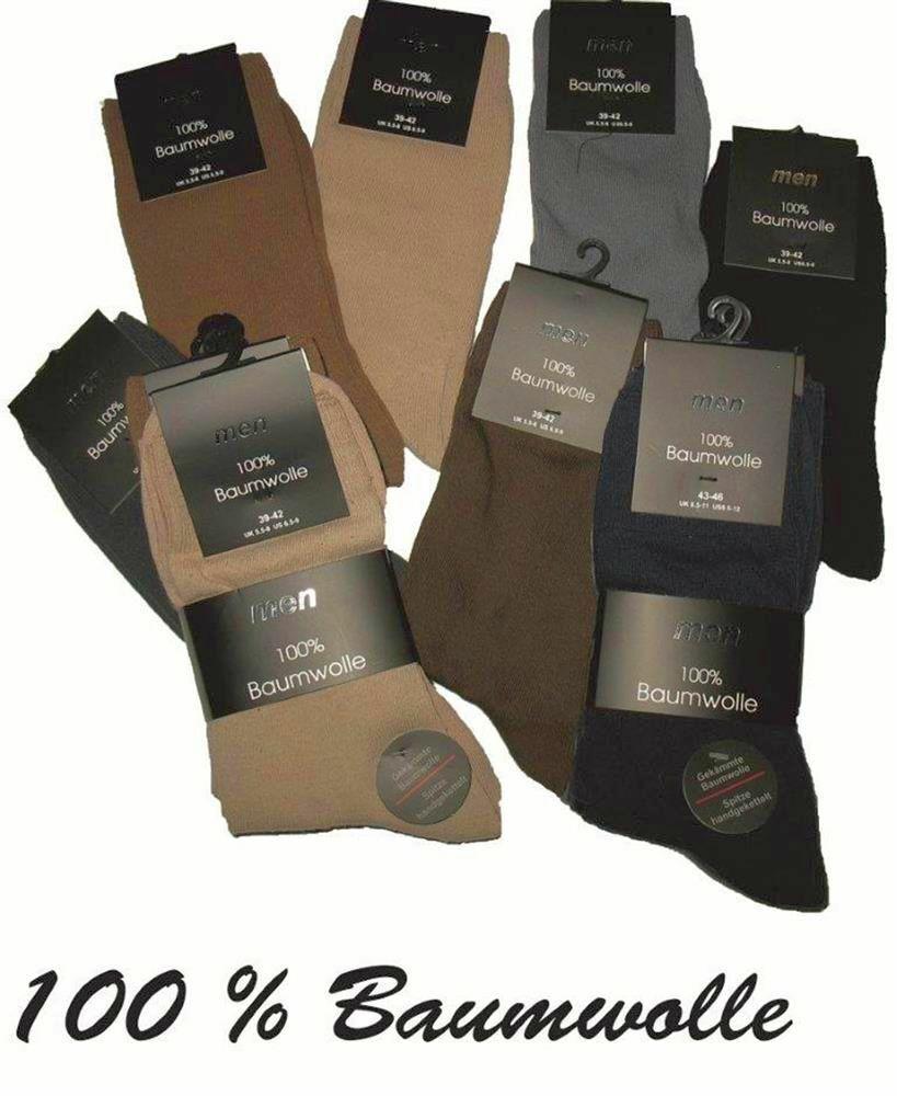Anzug Freizeit Classic Buisness Socken Strümpfe Schwarz Farbig 100% Baumwolle