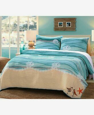 Maui Beach Coastal Embroidered Bedding Sham Quilt Quilt Sets Full Queen King ()
