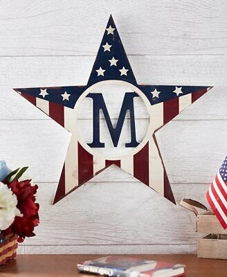 Patriotic Star Monogram Sign Wall Hanging Letters 15 InitialS Personalized Decor ()