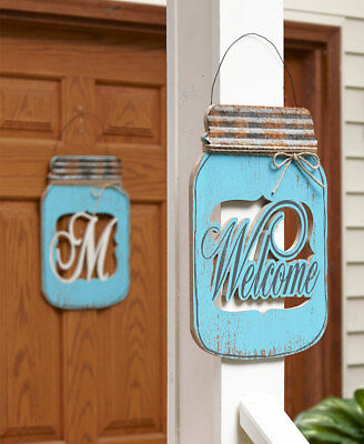 MONOGRAM Letter or WELCOME Mason Jar Door Hanger Country Rustic Distressed Decor