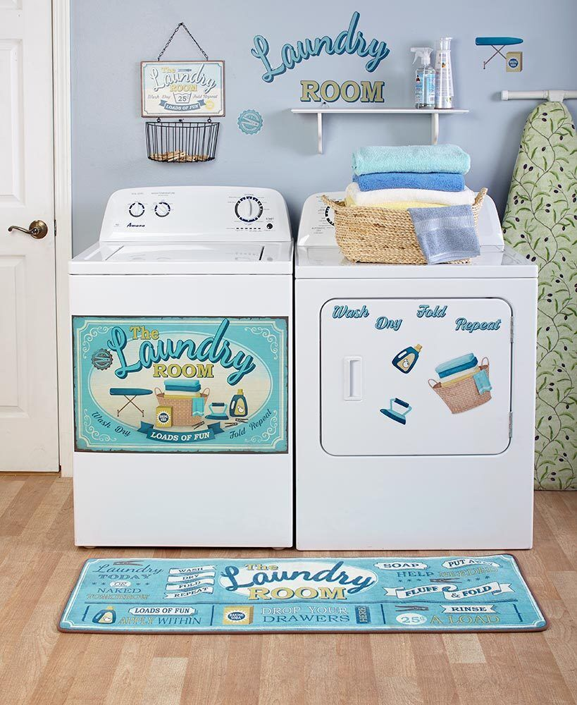 Lively Laundry Room Collection Door Magnet Wall Decals Baske