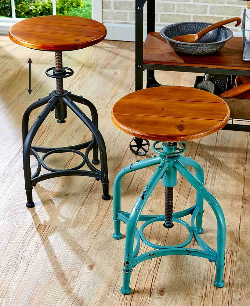 Fabulous Industrial Metal Adjustable Height Swivel Bar Stool In Black Or Distressed Teal Andrewgaddart Wooden Chair Designs For Living Room Andrewgaddartcom