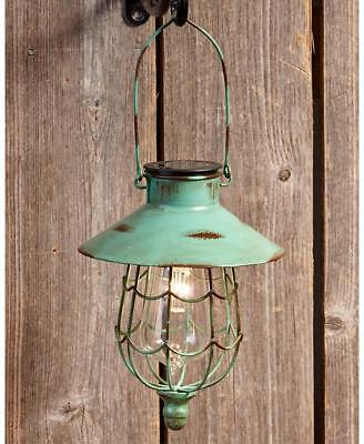 GREEN RUSTIC SOLAR HANGING LANTERN GARDEN OUTDOOR LAWN DECOR LED LAMP LIGHTS