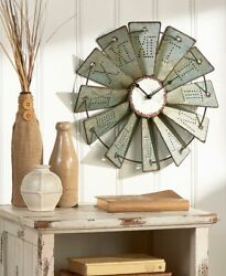 Metal Windmill Wall Clock 14.5 Primitive Country Farm House Decor NEW In BOX