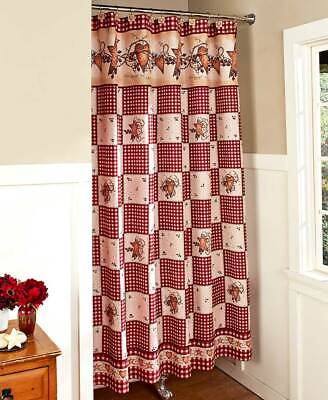 Heart Shower Curtain (Heart & Star Bathroom Shower Curtain - Rustic Country Restroom)